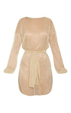 Gold Plisse Balloon Sleeve Shift Dress | PrettyLittleThing