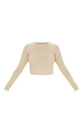 Oatmeal Cropped Rib Knit Jumper   Knitwear   PrettyLittleThing USA
