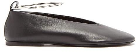 Leather Ballet Flats - Womens - Black