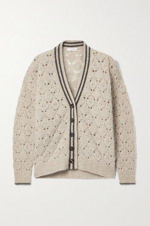 Open-knit Cardigan - Beige