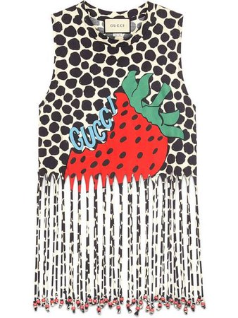 Gucci Fringe Tank With Gucci Strawberry Print - Farfetch