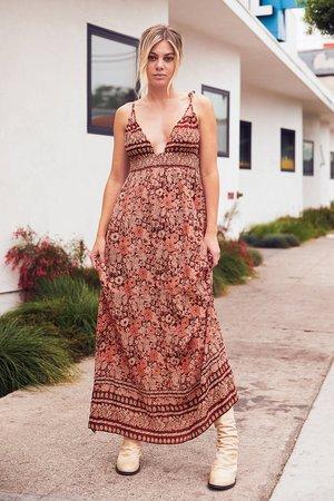 Rust Orange Print Dress - Print Maxi Dress - Sleeveless Maxi - Lulus