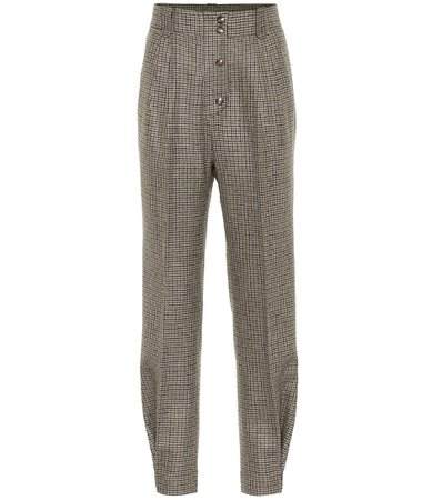 Etro - Checked high-rise stretch-wool pants | Mytheresa