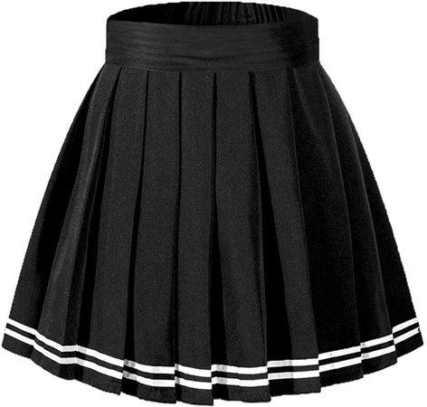 Amazon.com: Beautifulfashionlife Girl's Flared Casual Mini Skater Skirt Elastic Shorts Black White Stripes,L: Clothing