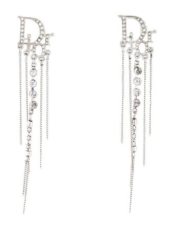Christian Dior Crystal Studded Logo Chain Clip-On Earrings - Earrings - CHR96661 | The RealReal