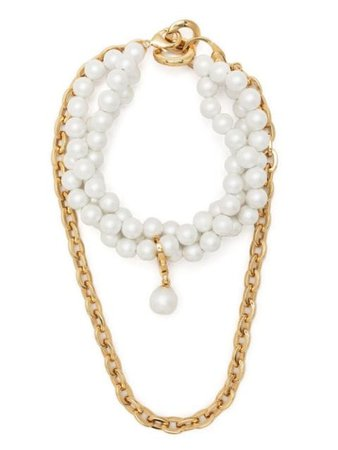 Shop AZ FACTORY pearl-embellished layered necklace with Express Delivery - FARFETCH