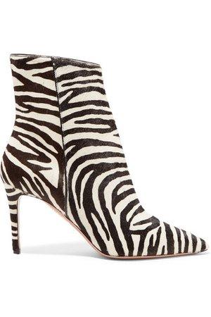 Aquazzura   Alma 85 zebra-print calf hair ankle boots   NET-A-PORTER.COM