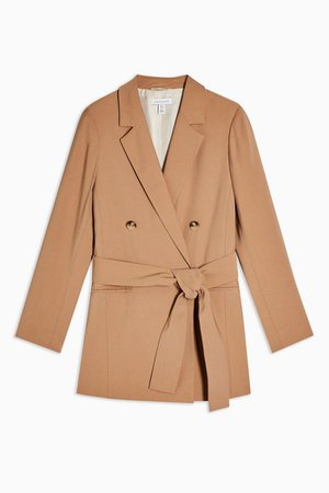 Camel Double Breasted Belted Twill Blazer   Topshop