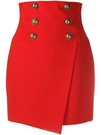 Balmain Short high-waist Buttoned Wrap Skirt - Farfetch