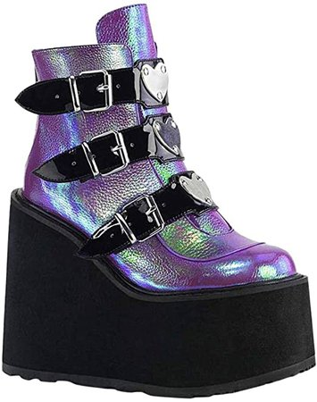Amazon.com: Simayixxch Women's Platform Boots Round Toe Thick Wedge Heels Multicolor Motorcycle Boots Buckle Strap Party Ankle Boots Purple: Clothing