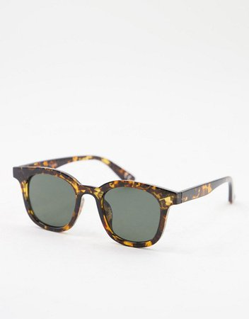 ASOS DESIGN plastic round square sunglasses in dark tort | ASOS