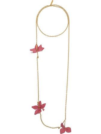 Shop orange Marni floral applique necklace with Express Delivery - Farfetch