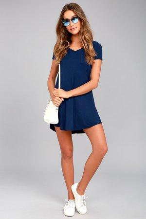 Navy Blue Dress - Shift Dress - Shirt Dress