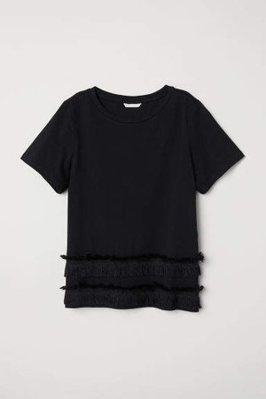 Jersey Top with Fringe - Black