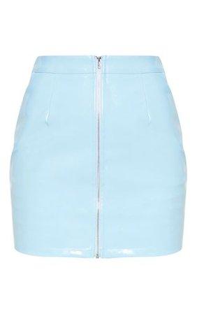 Baby Blue Vinyl Mini Skirt