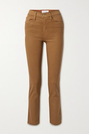 Le Sylvie Cropped Coated High-rise Straight-leg Jeans - Light brown