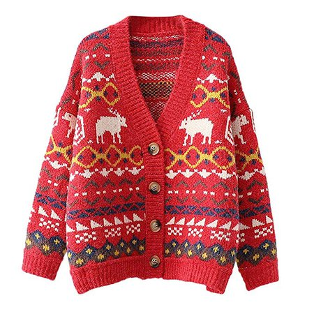 WUAI Women's Christmas Ugly Sweater Cardigans Casual Open Front Reindeer Patterns Button Down Knit Sweaters(Red,One Size): Clothing