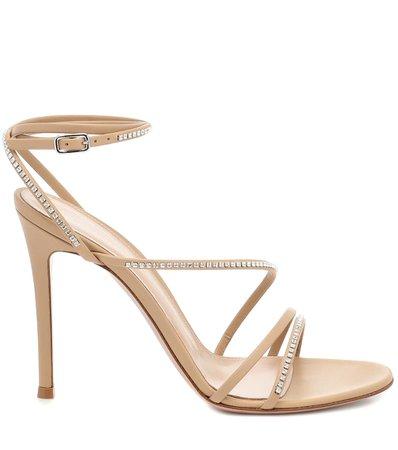 Crystal-Embellished Leather Sandals
