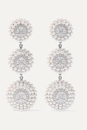 White gold 18-karat white gold, pearl and diamond earrings | Amrapali | NET-A-PORTER