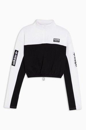 Black and White 1/2 Zip Crop Sweatshirt by adidas | Topshop
