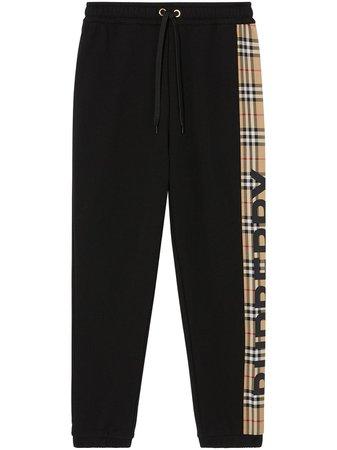 Black Burberry Vintage Check Panel Track Pants | Farfetch.com