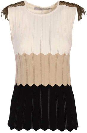 Sleeveless Striped Beige Top