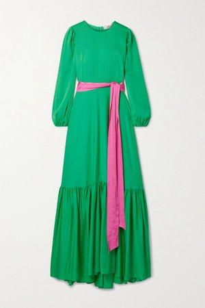 Green Amabel belted silk-blend crepe maxi dress   Diane von Furstenberg   NET-A-PORTER