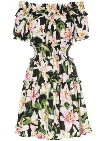 Dolce & Gabbana off-the-shoulder Lily Print Dress - Farfetch