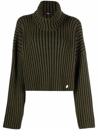 Balmain chunky ribbed-knit turtleneck jumper - FARFETCH