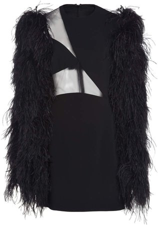 Asymmetrical Tulle And Feather Mini Dress