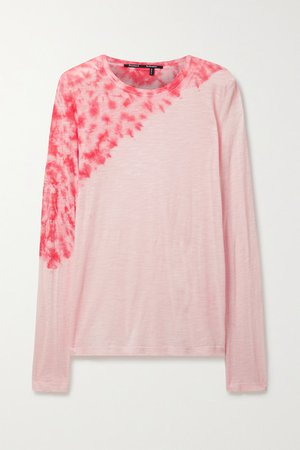 Tie-dyed Cotton-jersey Top - Baby pink
