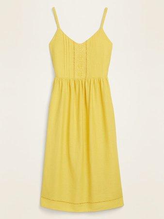 Linen-Blend Crochet-Lace Trim Fit & Flare Cami Dress for Women   Old Navy