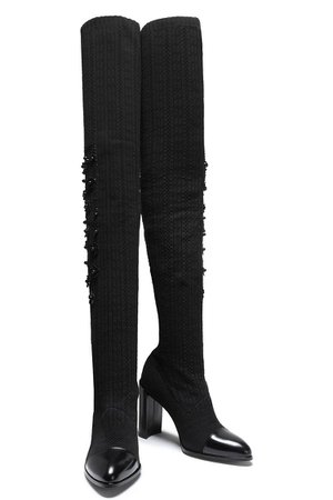 Black Leather-trimmed embellished pointelle-knit over-the-knee boots | Sale up to 70% off | THE OUTNET | STUART WEITZMAN | THE OUTNET