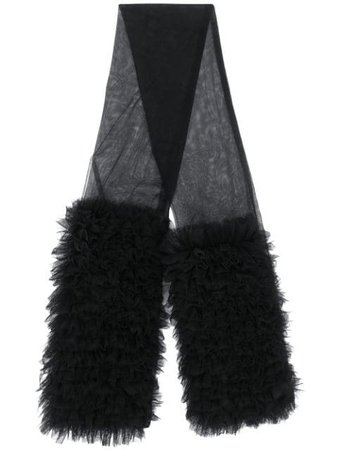 Black Molly Goddard Ruffled Tulle Scarf | Farfetch.com