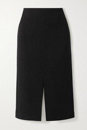 Moka Wool-crepe Pencil Skirt - Black