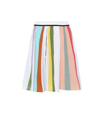 Striped crochet cotton miniskirt