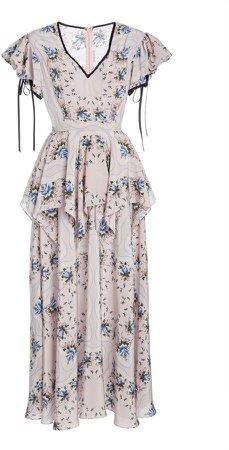 Rodarte Ruffle-Trimmed Floral Crepe Midi Dress