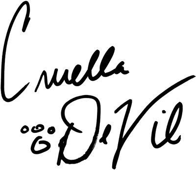 cruella de vil signature