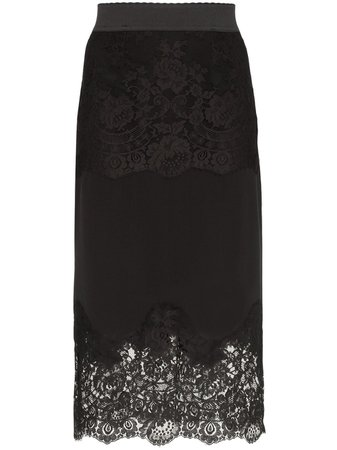 Dolce & Gabbana Lace-Insert Pencil Skirt F4BO2TFU1KA Black | Farfetch