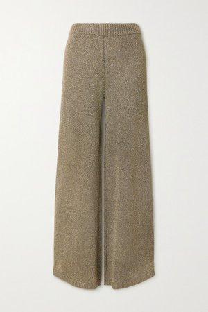Daisy Metallic Stretch-knit Wide-leg Pants - Army green