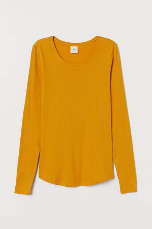 Long-sleeved Jersey Top - Yellow