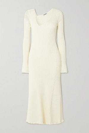 Asymmetric Ribbed Wool-blend Midi Dress - Ivory