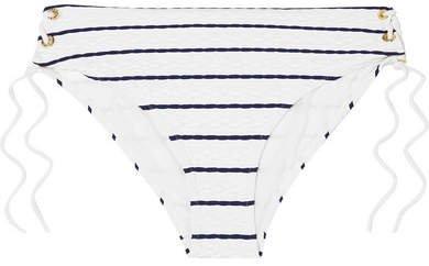Dubrovnik Lace-up Striped Bikini Briefs - White