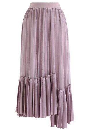 Mesh Asymmetric Hem Pleated Midi Skirt in Lilac - Retro, Indie and Unique Fashion