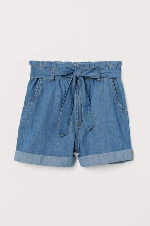 Denim Paper-bag Shorts - Blue