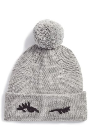 kate spade new york winking beanie with pom | Nordstrom