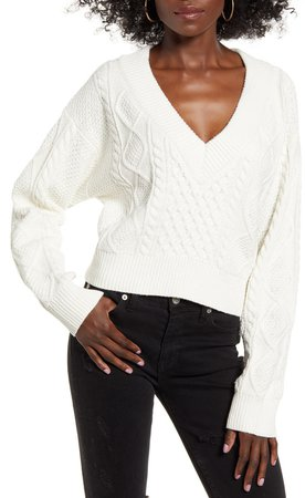 V-Neck Cable Crop Sweater