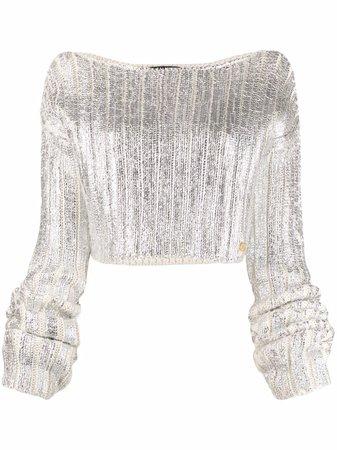 Balmain cropped metallic knit jumper