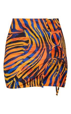 Multi Zebra Printed Cut Out Detail Mini Skirt | PrettyLittleThing USA
