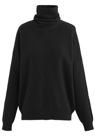 Basic Turtleneck Ribbed Knit Sweater in Black - Retro, Indie and Unique Fashion